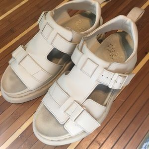 Doc marten leather sandals in bone size 8